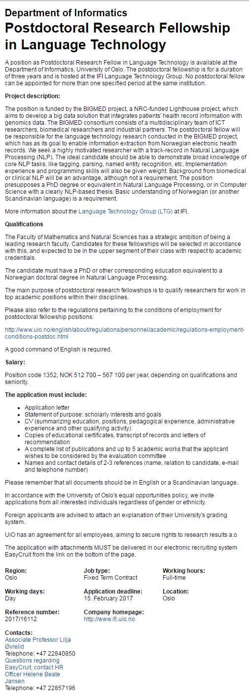 Postdoctoral Research Fellowship in Language Technology at