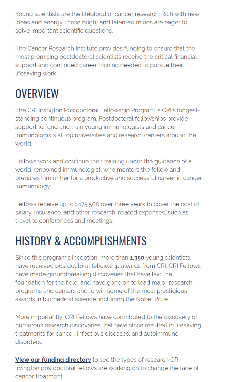 Cancer Research Institute Postdoctoral Fellowships for
