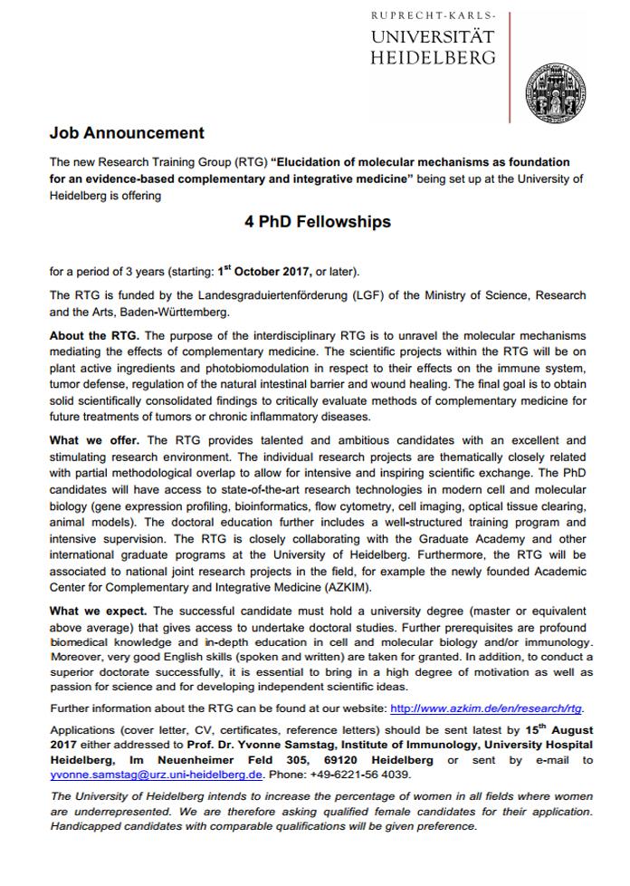 RTG PhD Fellowships for International Students at Heidelberg