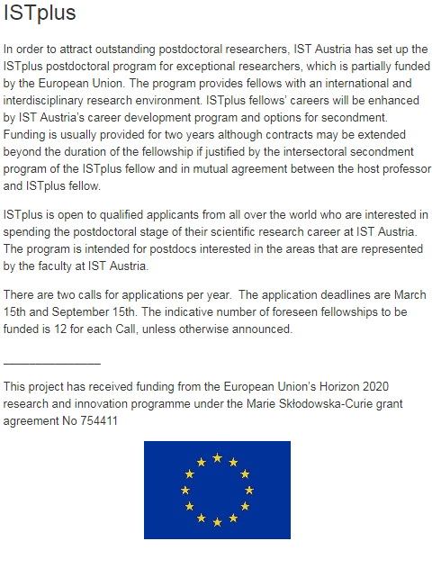 ISTplus Postdoctoral Positions Scholarships for International