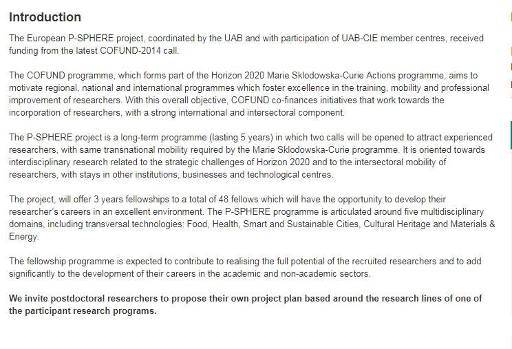UAB P SPHERE Postdoctoral Fellowships for International