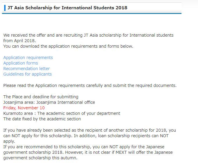 JT Asia Scholarships for International Students at Tokushima