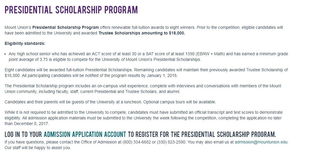 Presidential Scholarship Program at University of Mount