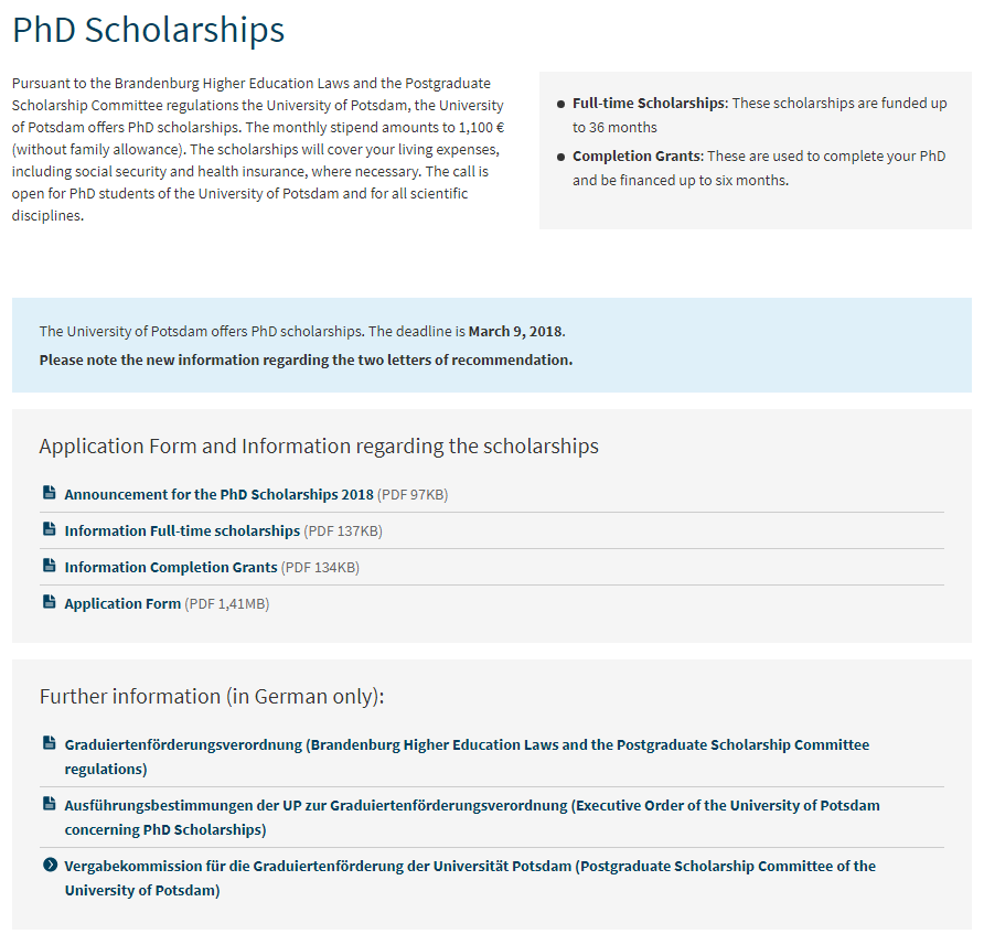 PhD Scholarships for International Students at University of Potsdam