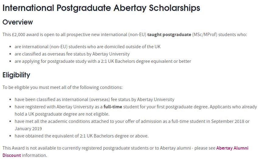 International Postgraduate Abertay Scholarships At Abertay