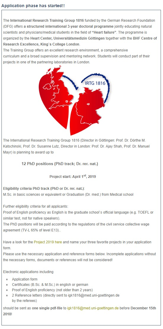 12 BHF Centre 3-year Joint PhD Studentships at University of
