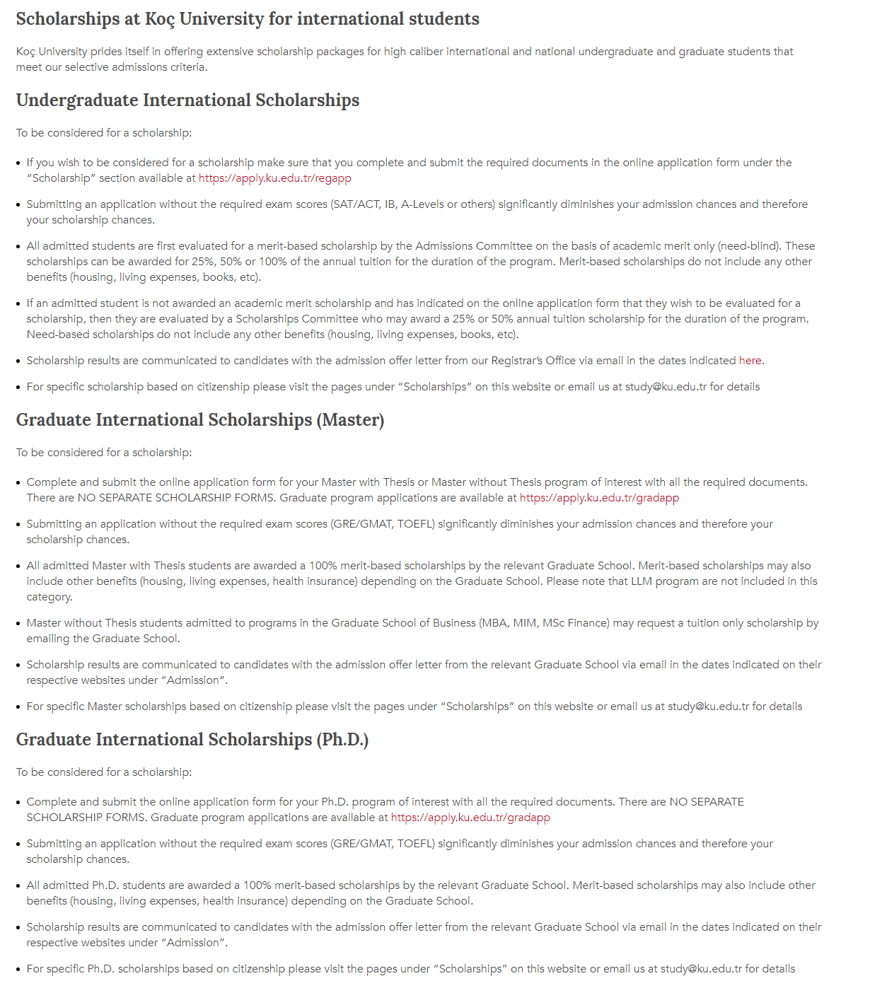 Scholarships at Koc University for international students in