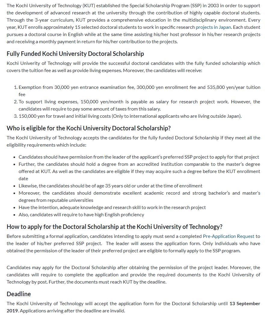 Fully Funded Kochi University PhD Scholarship