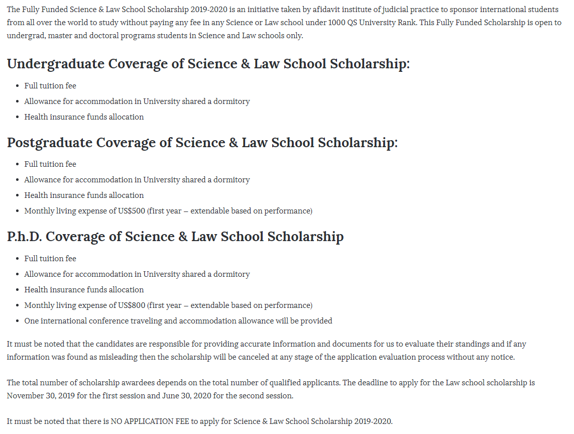 Fully Funded Science Law School funding for International