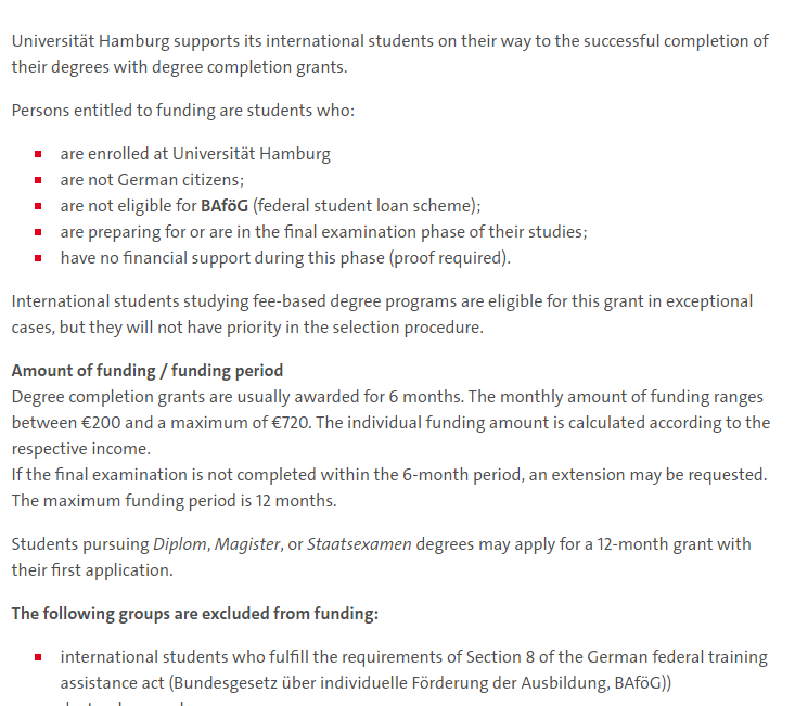 Degree Completion Grants for International Students at University