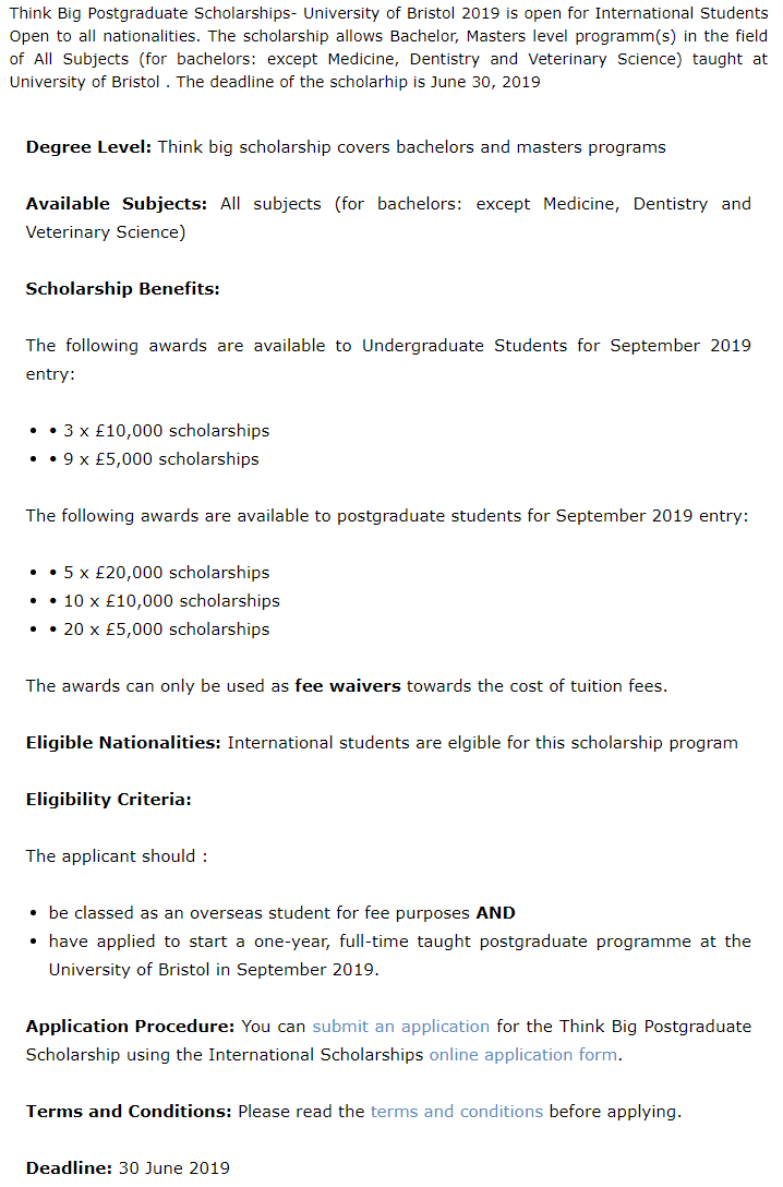 Think Big Postgraduate Scholarships- University of Bristol 2019